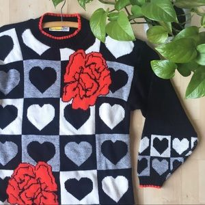 VINTAGE Graphic Retro Heart Rose Knit Sweater M/L